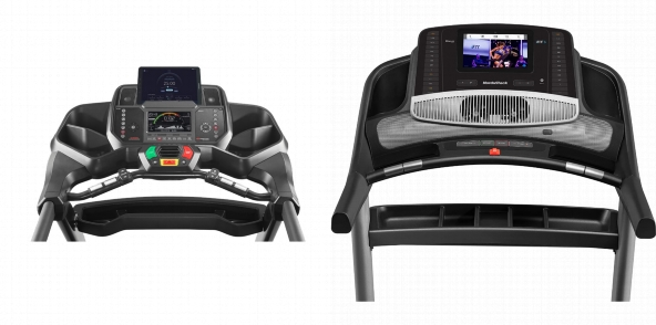 Consoles of Bowflex BXT116 and NordicTrack Commercial 1750.