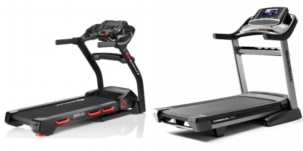 Side by side comparison of Bowflex BXT116 and NordicTrack Commercial 1750 treadmills.