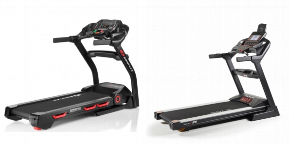 Side by side comparison of Bowflex BXT116 and Sole F80 treadmills.