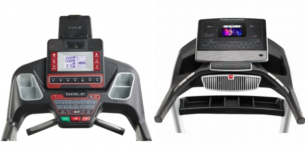 Consoles of SOLE F63 Treadmill and ProForm Pro 2000.