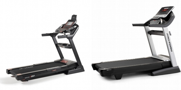 Side by side comparison of SOLE F63 Treadmill and ProForm Pro 2000 treadmills.
