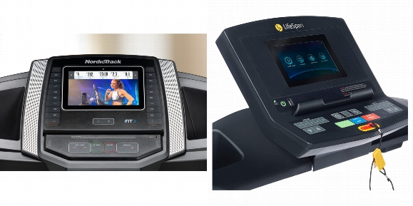 Consoles of NordicTrack T Series Treadmill 6.5S and LifeSpan TR2000i.