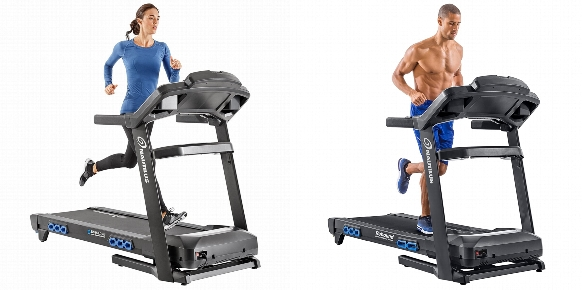 Side by side comparison of Nautilus T616 and Nautilus T618 treadmills.