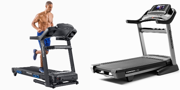 Side by side comparison of Nautilus T618 and NordicTrack Commercial 1750 treadmills.